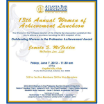 Atlanta Bar flyer - Jamala McFadden receives Atlanta Bar Association's Outstanding Woman of Achievement Award